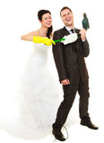 Housework concept and married couple. Royalty Free Stock Image