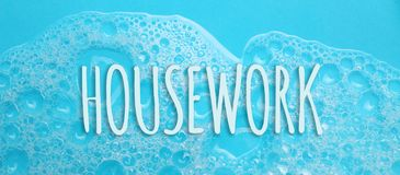 Housework concept. Soap suds foam and bubbles from detergent.  royalty free stock photo