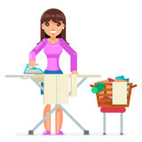Housework Electric Iron Clean Laundry Clothes Domestic Household Board Household Housewife Female Girl Character Cartoon Royalty Free Stock Photography