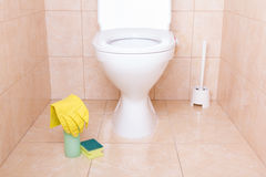 Housework equipment in toilet Royalty Free Stock Photography