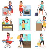 Housework at home color flat illustration set royalty free stock photo