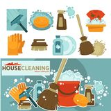 Housework tools vector icons of home washing, mopping and cleaning. Housework or house cleaning tools for home mopping and floor washing or window glass clean Stock Photo
