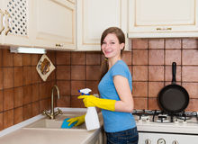 Housework and housekeeping concept. Young woman with cleaning sp Royalty Free Stock Photos