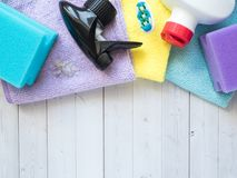 Housework, housekeeping and household concept - cleaning stuff.  royalty free stock photos