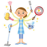 Housework and housewife. The housewife who completely handles housework vector illustration