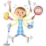 Housework and housewife. The housewife who is weak in housework vector illustration