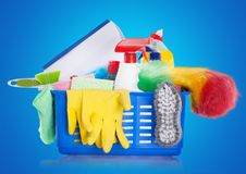 Housework. Clean cleaning equipment duster chores dustpan bath sponge Royalty Free Stock Photos