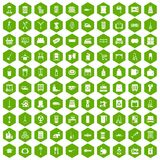 100 housework icons hexagon green. 100 housework icons set in green hexagon isolated vector illustration Royalty Free Stock Images