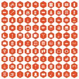 100 housework icons hexagon orange Stock Images