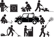 Housework. Icons of people - housework on a daily basis vector illustration