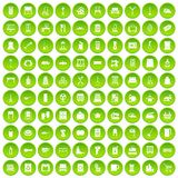 100 housework icons set green circle. Isolated on white background vector illustration Vector Illustration