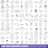 100 housework icons set, outline style Stock Photography