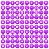 100 housework icons set purple. 100 housework icons set in purple circle isolated on white vector illustration Royalty Free Stock Photo