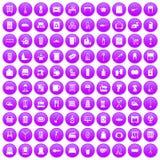 100 housework icons set purple Royalty Free Stock Photo
