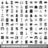 100 housework icons set, simple style Stock Images