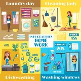Vector posters for housework cleaning and washing Royalty Free Stock Images