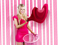 Housework Love With Young Woman Washing Clothes Royalty Free Stock Photo