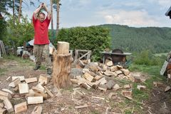 Housework, man cuts wood, preparation for winter Royalty Free Stock Photography