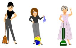 Housework in retro fashions Royalty Free Stock Photos