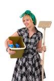 Housework woman with mop & bucket Stock Photo
