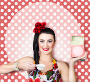 Housework woman with washing machine soap powder Royalty Free Stock Photography