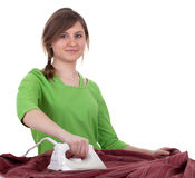 Housework young woman ironing clothes Stock Image