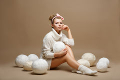 Housework. Young Woman in White Tricot with Woolen Balls. Seamstress Stock Photos