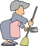 Housework1. This illustration that I created depicts a woman using a dustpan and broom Royalty Free Stock Image
