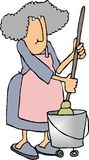 Housework2. This illustration that I created depicts a woman using a mop Stock Photos
