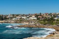 Housing above Tamarama and Bronte beaches, Sydney Australia