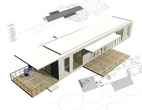 Housing architecture plans with 3D building Royalty Free Stock Photography