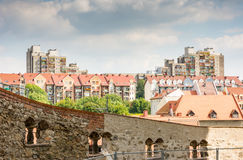 Housing Block in Poland. View from Goerlitz in Saxony to a housing blocks in the town of Zgorzelek in Poland stock photography