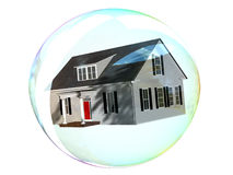Housing Bubble. House floating inside a bubble.  Fragile housing market Royalty Free Stock Photos