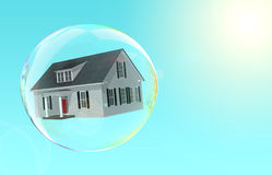 Housing Bubble. House floating inside a bubble.  Fragile housing market Royalty Free Stock Photo