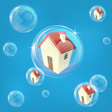 Housing bubble concept. Business or economics concept illustration representing a bubble in the housing or real estate market Royalty Free Stock Photos