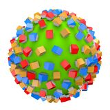 Housing business concept with small colorful houses on green ball Stock Photos