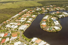 Housing canal development in Queensland Stock Photo