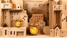 Housing cardboard with alarms stock photo