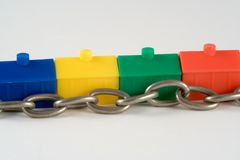 Housing Chain Metaphor. Metaphor for the chain when buying a house Royalty Free Stock Photography