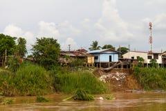 Housing coastal landslides Stock Photo