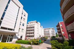 Housing complex. Several multistory buildings in a large housing or apartment complex stock image