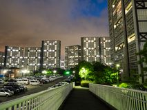 Housing complex in Japan. Kobe Night view stock image