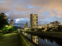 Housing complex in Japan. Kobe Night view royalty free stock photo