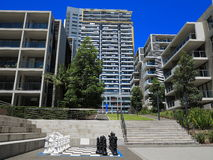 Housing complex modern with courtyard. Australian urban living in a housing complex with chess game in the courtyard Stock Images