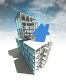 Housing concept of architectural building plan with sky Royalty Free Stock Photos