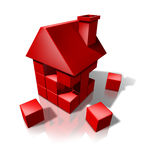 Housing Construction. And Real Estate industry builders with red cube blocks creating a new residence or renovating an old house or home on a white background stock illustration