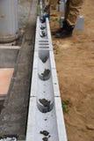 Concrete block work. Housing construction / Concrete block work stock image