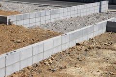 Concrete block work. Housing construction / Concrete block work stock images