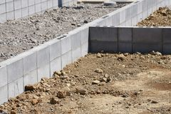 Concrete block work. Housing construction / Concrete block work stock photography