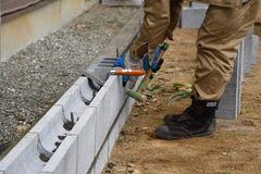 Concrete block work. Housing construction / Concrete block work royalty free stock images